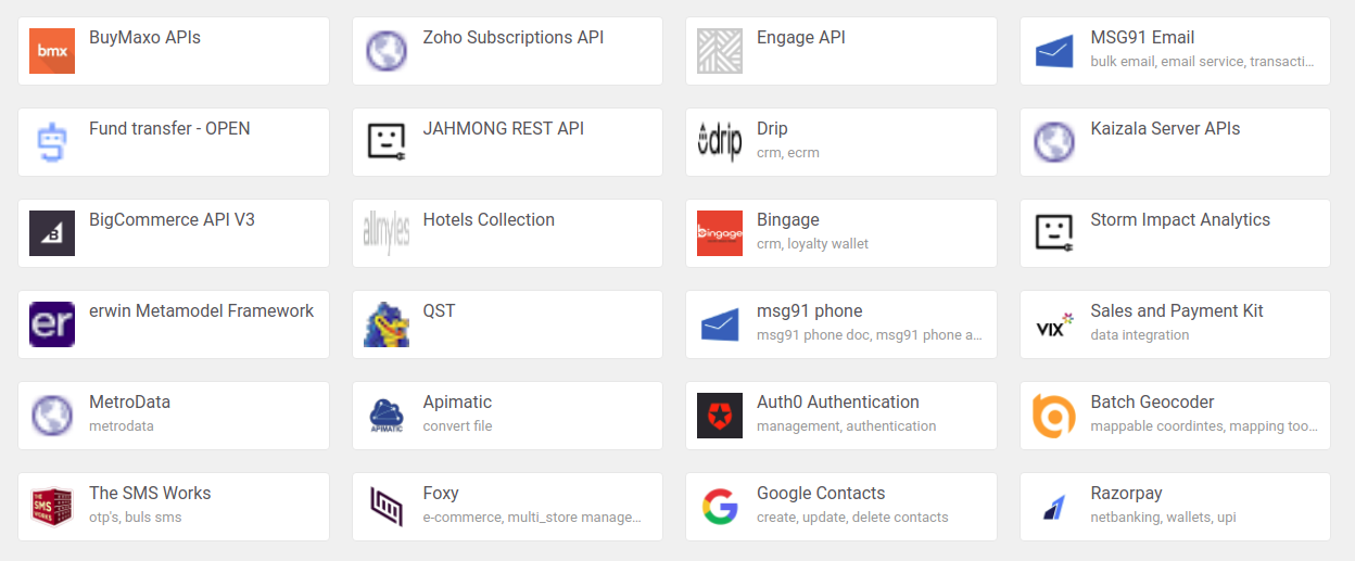 A screenshot of many available APIs by company logo.